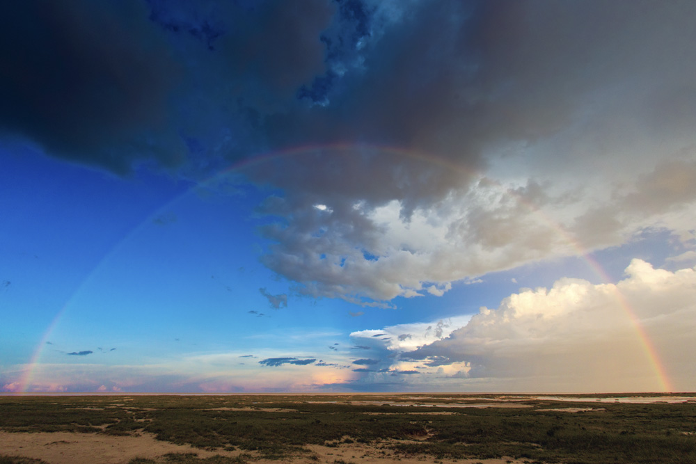 A rainbow over the Etosha pan