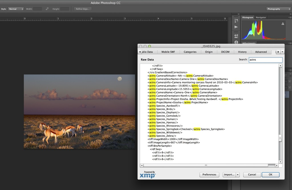 Aardwolf can directly write to file metadata (XMP). Here is how Aardwolf annotated data looks like when a photograph is viewed through another program.