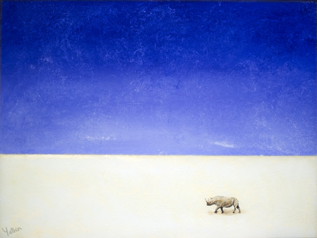 Painting of black rhinoceros on Etosha Pan